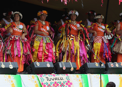 A cultural group performs on the Tuvalu stage at the 2012 Pasifika Festival