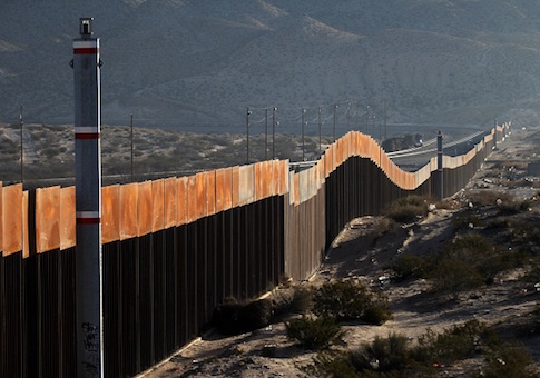 A view of the border wall between Mexico and the United States