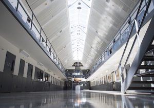 A prison cell block is seen at the El Reno Federal Correctional Institution in El Reno, Oklahoma