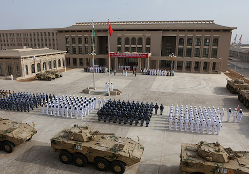 Chinese People's Liberation Army personnel attend the opening ceremony of China's new military base in Djibouti