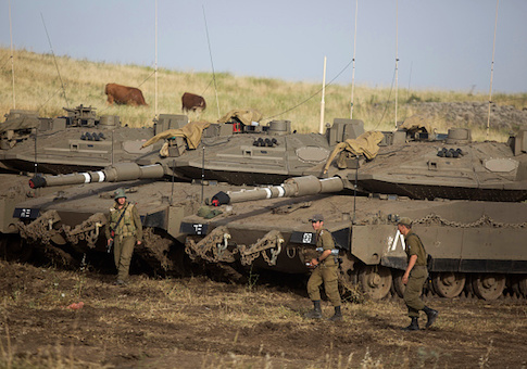 Israeli soldiers are seen in the Golan Heights