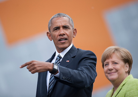 German Chancellor Angela Merkel and former President Barack Obama