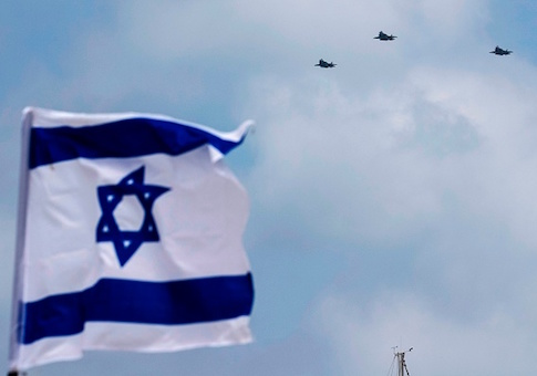 Israeli F-35 fighter jets perform during an air show