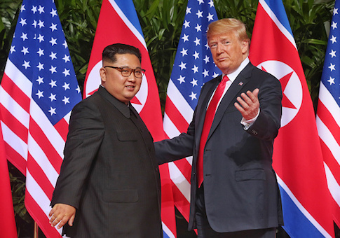 North Korean leader Kim Jong-un meets U.S. President Donald Trump