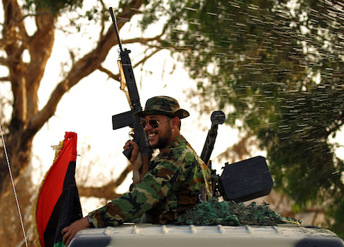 A member of the Salah Bou-Haliqa brigade, loyal to the country's east strongman Khalifa Haftar's self-styled Libyan National Army