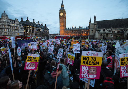 People protest Donald Trump's February visit to the UK