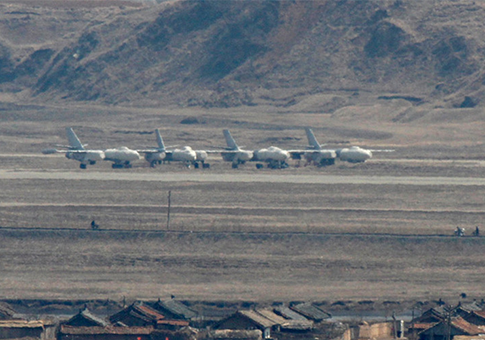 Chinese-made H-5 bombers were spotted at a North Korean military airfield at Sinuju, North Korea, near the border with China / Source: Chinese Internet