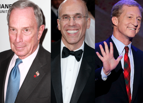 Billionaires Michael Bloomberg, Jeffrey Katzenberg, and Tom Steyer