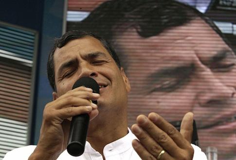 Correa sings during his weekly live broadcast (AP)
