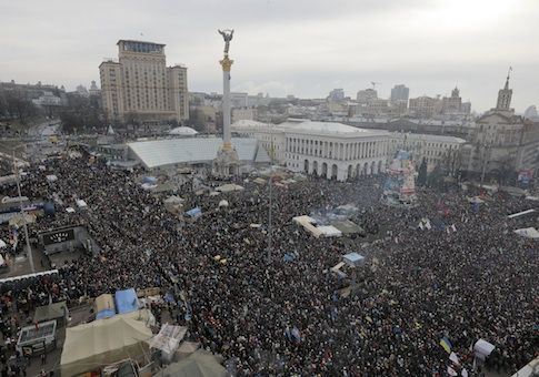 Pro-European Union activists during a rally in the Ukrainian capital Kiev's main square
