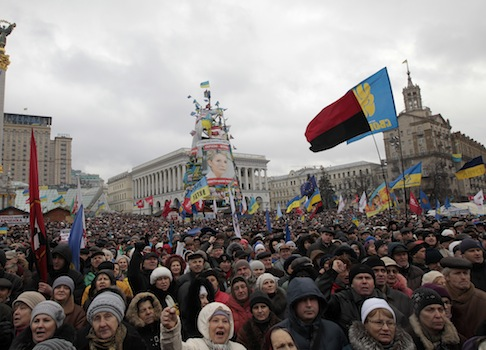 Pro-European Union activists in Kiev, Ukraine