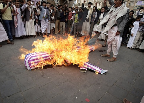 Yemenis protest against U.S. drone strikes targeting al Qaeda militants
