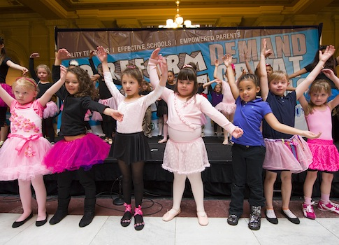 Charter school students perform at a pro-school choice rally in Indiana / AP