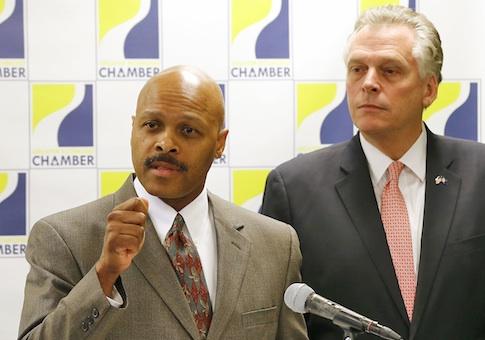 McAuliffe and Commerce Secretary Maurice Jones / AP