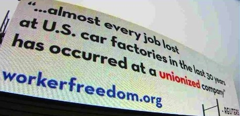 Center for Worker Freedom billboard, Chattanooga, TN