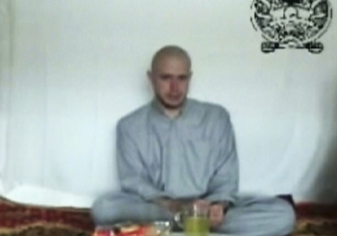 This video frame grab taken from a Taliban propaganda video released Saturday, July 18, 2009, shows then-Pfc. Bowe R. Bergdahl