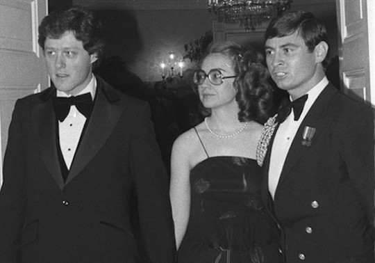 Arkansas Gov. Bill Clinton and his wife Hillary enter the White House Feb. 27, 1979