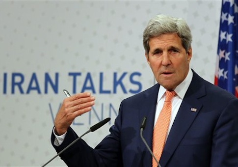 U.S. Secretary of State John Kerry speaks to the media after closed-door nuclear talks on Iran taking place in Vienna
