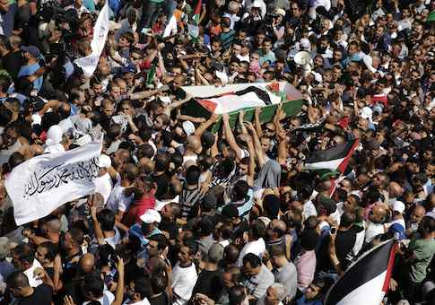Palestinians carry the body of 16-year-old Mohammed Abu Khudair during his funeral