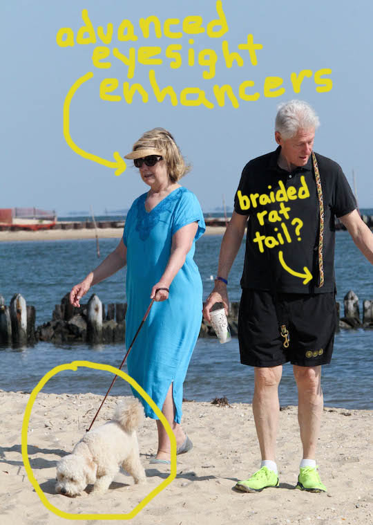 Exclusive - The Clintons Enjoy A Leisurely Morning On The Beach