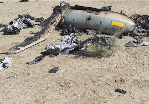 This undated photo released Monday, Aug. 25, 2014 by the Iranian Revolutionary Guards, claims to show the wreckage of an Israeli drone which Iran claims it shot down near an Iranian nuclear site