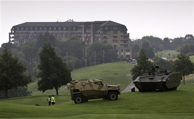 Military vehicles showcased on the grounds of the Celtic Manor Resort / AP