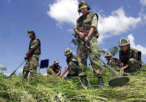 South Korean Army soldiers search for landmines