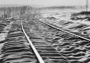 Snow ripples over sleepers between curving rails on the Trans-Siberian railroad, Oct. 28, 1978