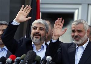 Hamas chief Khaled Mashaal and Hamas Prime Minister Ismail Haniyeh