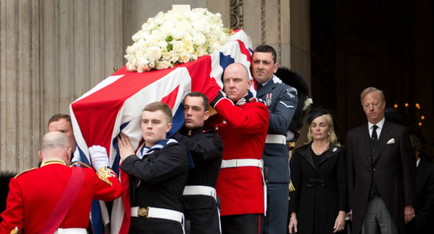 Pall-bearers at the funeral of Margaret Thatcher / AP