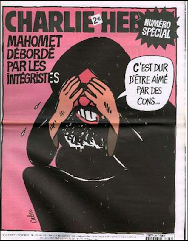 The cover of a 2006 issue containing cartoons that mocked Mohammed. The caption reads