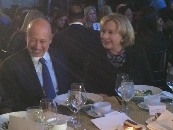 Hillary Clinton attends a fancy gala with Goldman Sachs CEO Lloyd Blankfein.