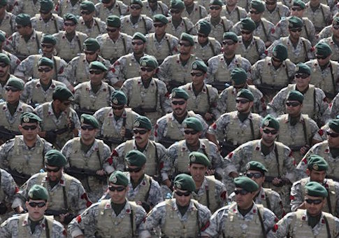 Iranian navy members march in a parade marking National Army Day