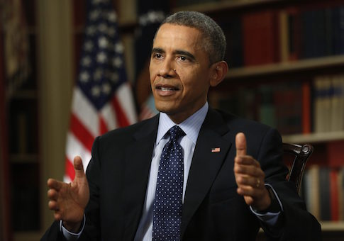 U.S. President Barack Obama speaks during an exclusive interview with Reuters in the Library of the White House in Washington March 2