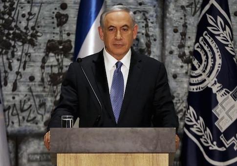 Israeli PM Netanyahu speaks during a ceremony at President Rivlin's residence in Jerusalem