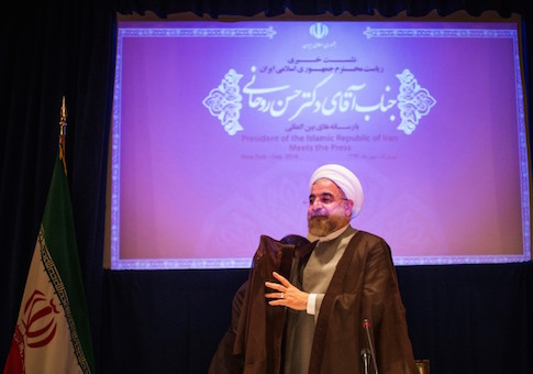 Iran's President Rouhani prepares to depart after the end of a press conference on the sidelines of the 69th United Nations General Assembly in New York