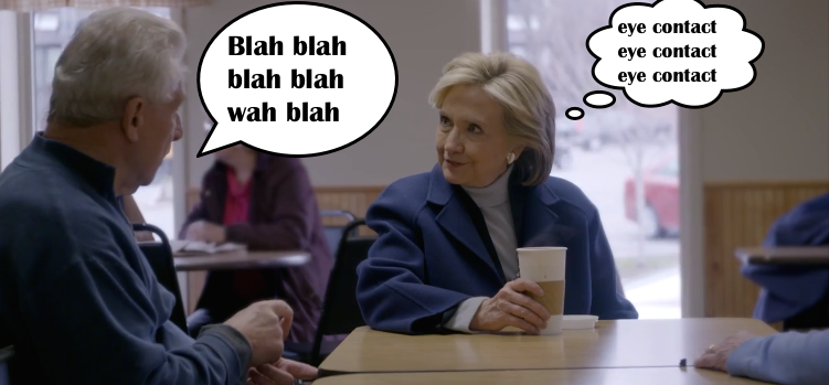 Hillary Eye Contact Thought Bubble