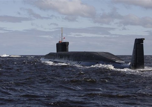 Russian nuclear submarine, Yuri Dolgoruky, is seen during sea trials near Arkhangelsk, Russia. The submarine was commissioned by the Russian Navy on Thursday, Jan. 10, 2013