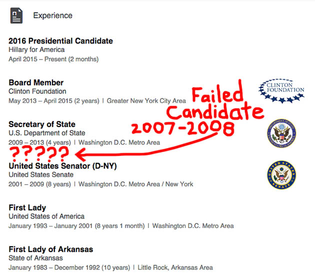 hillary clinton omits failed presidential campaign on linkedin resume