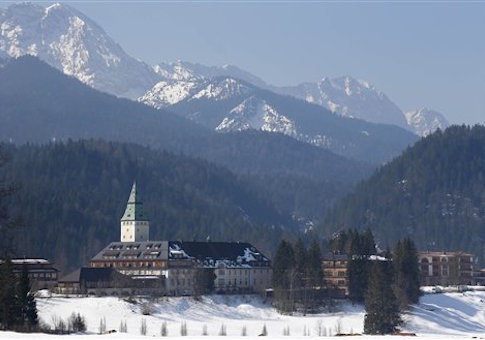 General view of Hotel castle Elmau in Kruen near Garmisch-Partenkirchen, Germany,