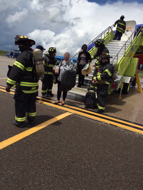 Passengers disembark from Southwest flight.