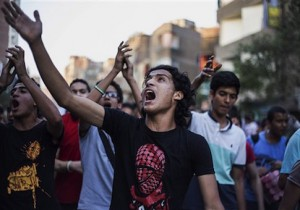 Supporters of the Muslim Brotherhood chant slogans against the Egyptian court ruling of the death sentence for ousted Islamist President Mohammed Morsi over a mass prison break during the country's 2011 uprising, while holding a protest in Cairo, Egypt, Tuesday, June 16