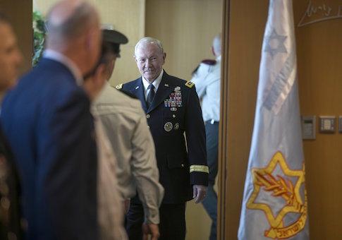 General Martin E. Dempsey arrives to deliver a statement in Tel Aviv