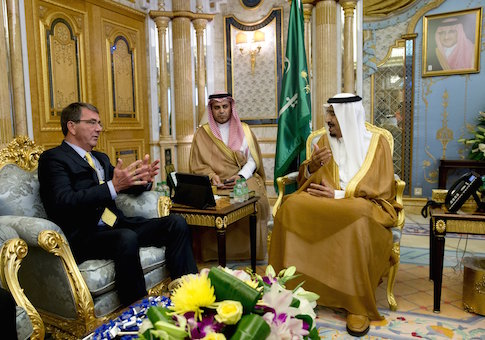 U.S. Defense Secretary Ash Carter meets with Saudi Arabia's King Salman bin Abdul Aziz at Al-Salam Palace in Jeddah