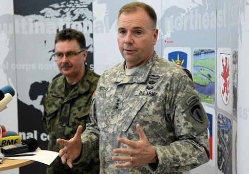 U.S. Army Europe commander Ben Hodges speaks as Polish general Boguslaw Samol stands during news conference during a visit to the Multinational Corps Northeast, NATO base at Szczecin in north-west Poland
