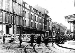 German Nazis block the streets with barricades after invading the city of Reims, France, on June 12, 1940 during World War II