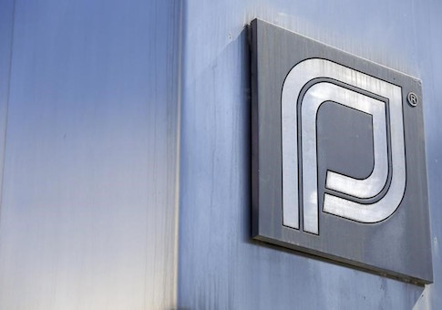 The Planned Parenthood logo is pictured outside a clinic in Boston