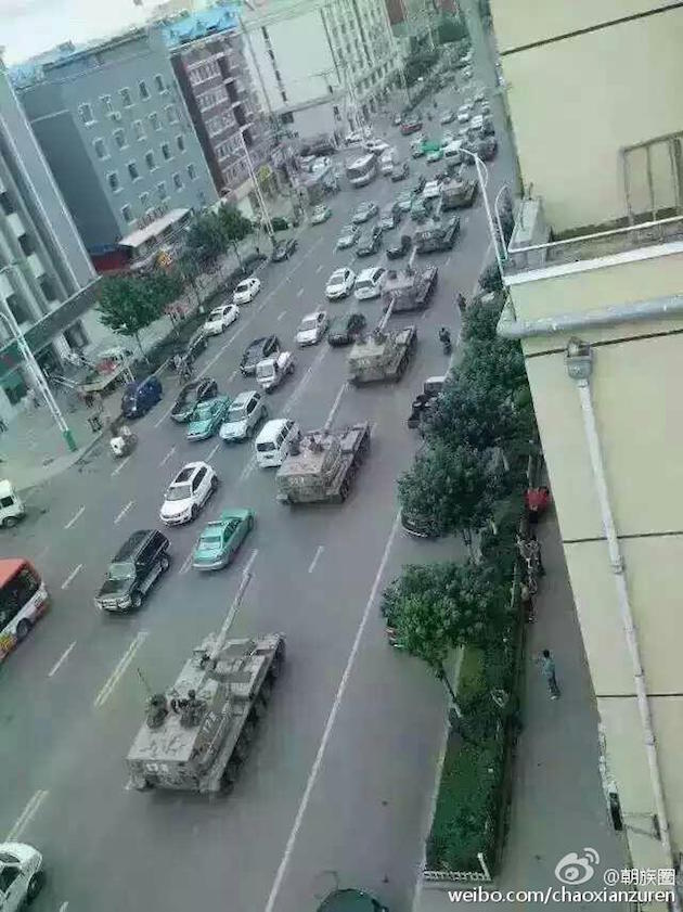 Chinese military forces moving to border region