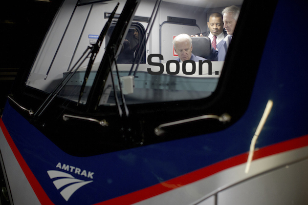 Vice President Joe Biden, seated, accompanied by Transportation Secretary Anthony Foxx, second right, and engineer Rick Stolnis, right, tours Amtrak's new Cities Sprinter electric locomotive, Thursday, Feb. 6, 2014, at 30th Street Station in Philadelphia. Biden in his visit to the train station stressed the need for infrastructure investment. (AP Photo/Matt Rourke)