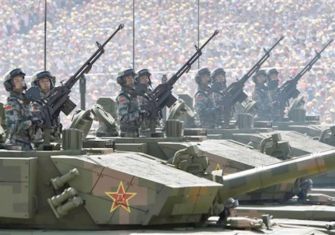 Chinese army tank regiments in WWII anniversary parade